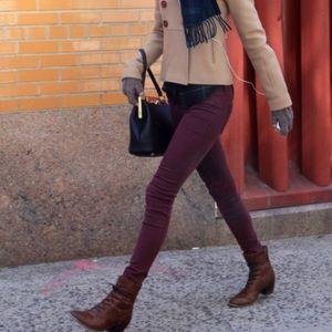 Wilfred Free Maroon Ankle Zip Skinny Jean